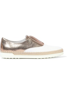 Tod's Woman Francesina Two-tone Leather Slip-on Sneakers Multicolor