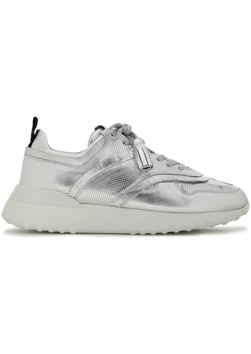 Tod's Woman Fringe-trimmed Metallic Leather Sneakers Silver