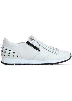 Tod's Woman Fringed Leather Slip-on Sneakers White