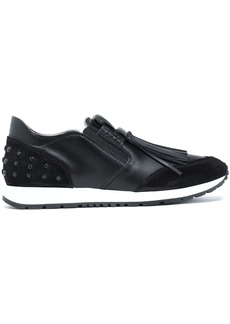 Tod's Woman Fringed Suede-paneled Leather Slip-on Sneakers Black