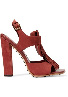 Tod's Woman Fringed Suede Sandals Brick