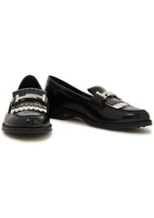 Tod's Woman Two-tone Embellished Glossed-leather Loafers Black
