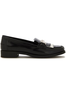 Tod's Woman Fringed Two-tone Glossed-leather Loafers Black