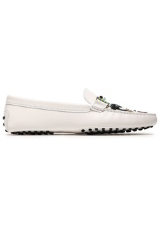 Tod's Woman Glittered Appliquéd Leather Loafers White