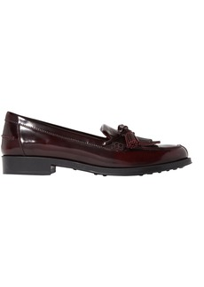 Tod's Woman Gomma Bow-detailed Fringed Burnished-leather Loafers Merlot
