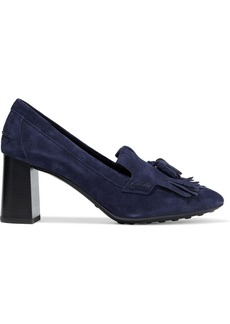 Tod's Woman Gomma Tasseled Fringed Suede Pumps Navy