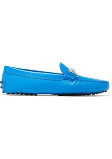 Tod's Woman Gommino Embellished Leather Loafers Light Blue