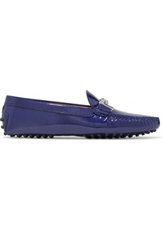 Tod's Woman Gommino Embellished Textured Patent-leather Loafers Royal Blue