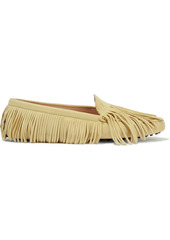Tod's Woman Gommino Fringed Suede Loafers Pastel Yellow