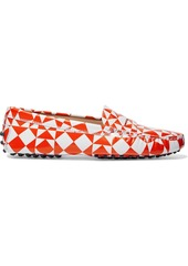 Tod's Woman Gommino Printed Leather Loafers Bright Orange