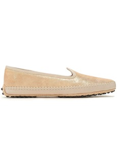 Tod's Woman Grosgrain-trimmed Metallic Suede Slippers Gold