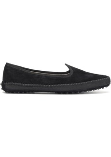 Tod's Woman Grosgrain-trimmed Suede Slippers Black