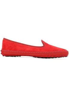 Tod's Woman Grosgrain-trimmed Suede Slippers Red