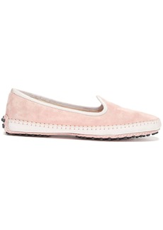 Tod's Woman Grosgrain-trimmed Suede Slippers Antique Rose