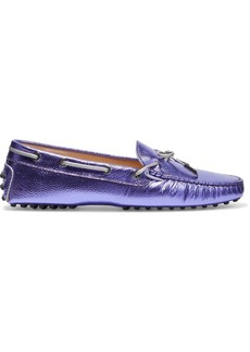 Tod's Woman Heaven Bow-detailed Metallic Pebbled-leather Loafers Purple