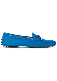 Tod's Woman Heaven Bow-detailed Nubuck Loafers Bright Blue