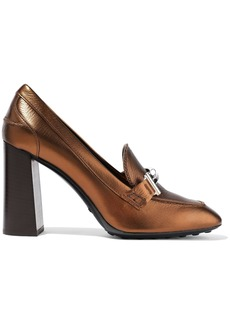 Tod's Woman Embellished Metallic Textured-leather Pumps Bronze