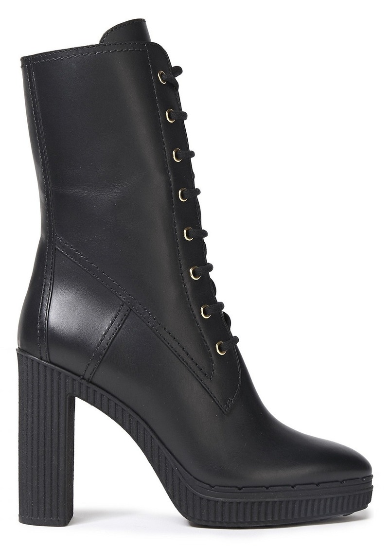 Tod's Woman Lace-up Leather Platform Boots Black