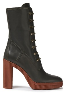 Tod's Woman Lace-up Leather Platform Boots Forest Green