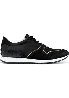 Tod's Woman Leather And Suede-trimmed Shell And Mesh Sneakers Black