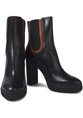 Tod's Woman Leather Platform Ankle Boots Black