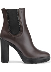 Tod's Woman Leather Platform Ankle Boots Chocolate