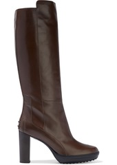 Tod's Woman Leather Platform Knee Boots Brown