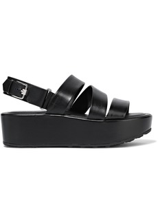 Tod's Woman Leather Platform Sandals Black