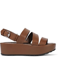 Tod's Woman Leather Platform Sandals Brown