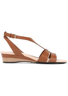 Tod's Woman Leather Wedge Sandals Brown