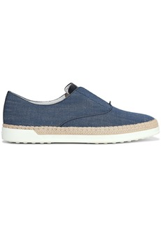 Tod's Woman Leather-trimmed Denim Slip-on Sneakers Mid Denim