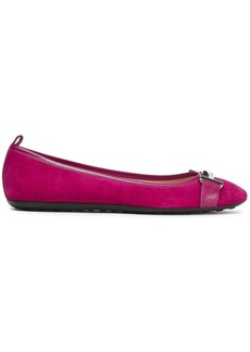 Tod's Woman Leather-trimmed Embellished Suede Ballet Flats Magenta
