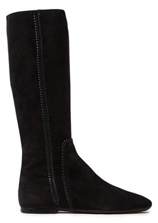 Tod's Woman Leather-trimmed Suede Boots Black