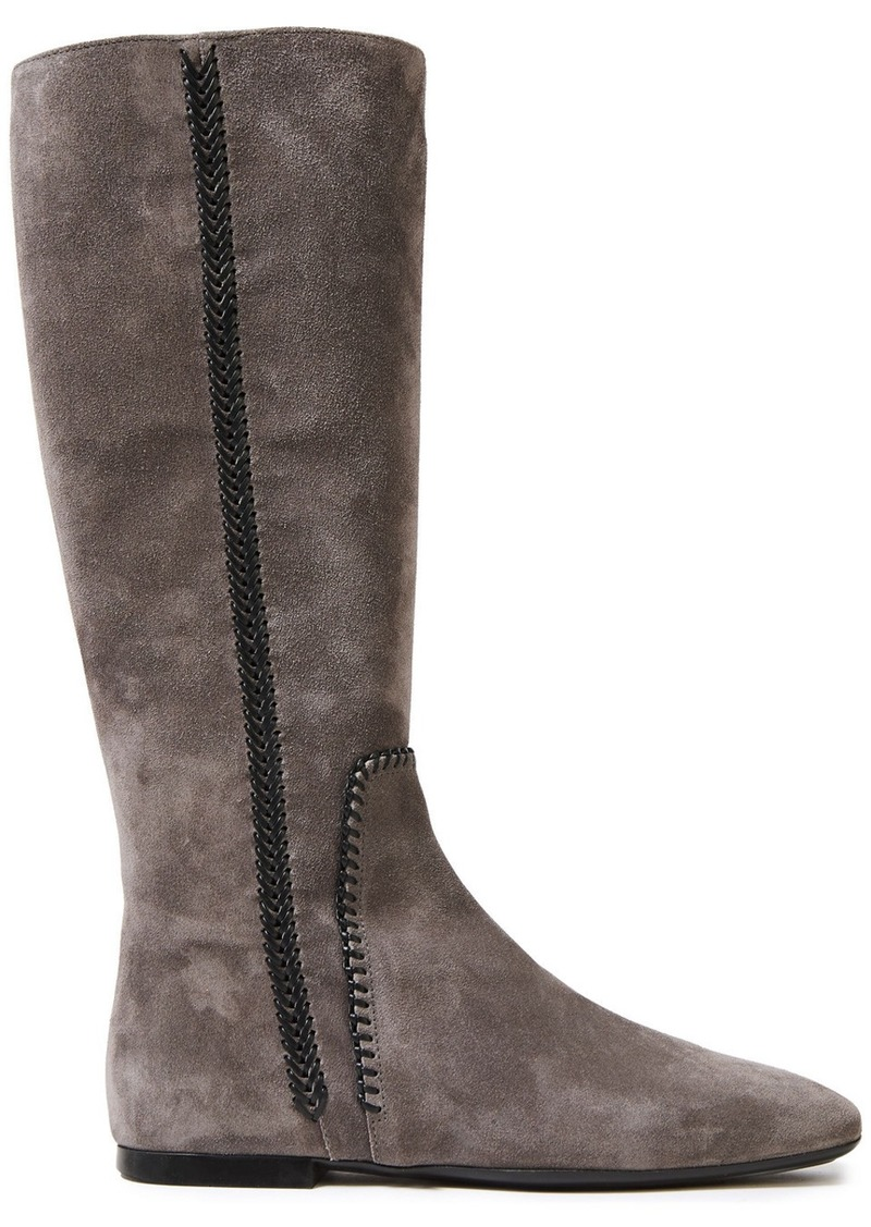 Tod's Woman Leather-trimmed Suede Boots Gray