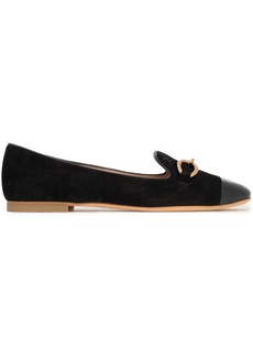 Tod's Woman Chain-embellished Leather-trimmed Suede Slippers Black