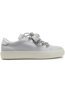 Tod's Woman Sportivo Tasseled Leather Sneakers Light Gray