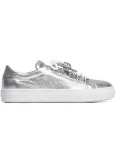 Tod's Woman Metallic Embellished Textured-leather Sneakers Silver