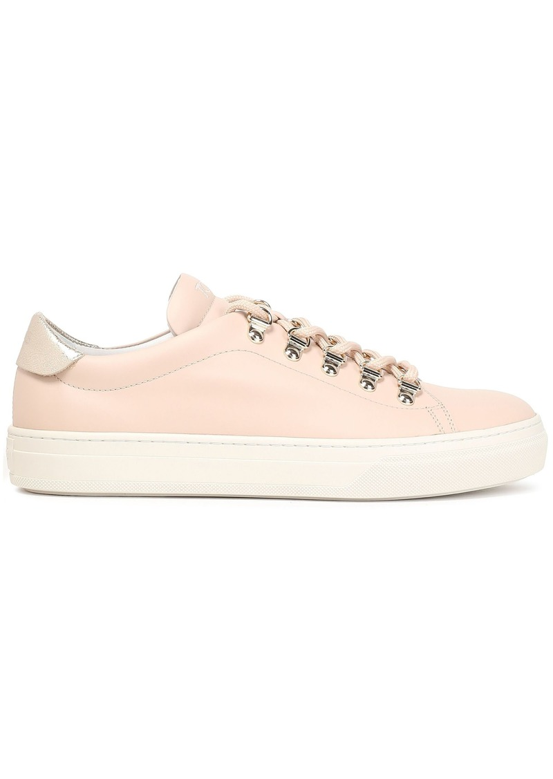 Tod's Woman Metallic Crackled Leather-trimmed Smooth-leather Sneakers Blush