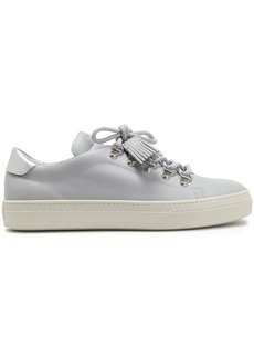 Tod's Woman Metallic-trimmed Leather Sneakers Light Gray