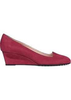 Tod's Woman Suede Wedge Pumps Brick