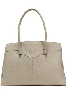 Tod's Woman Pebbled-leather Tote Gray