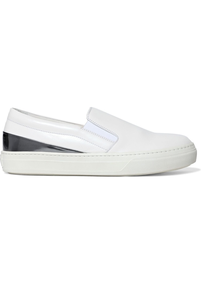 Tod's Woman Patent Leather-paneled Leather Slip-on Sneakers White