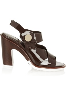 Tod's Woman Patent-leather Sandals Dark Brown