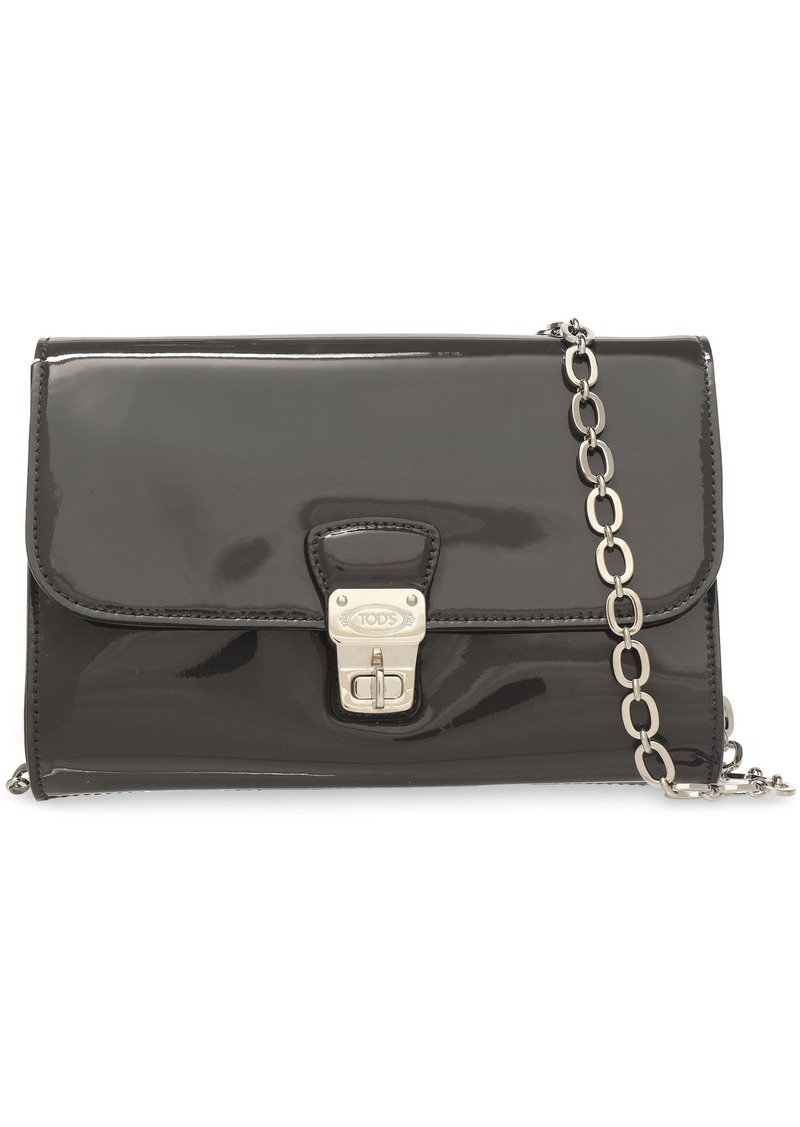 Tod's Woman Patent-leather Shoulder Bag Charcoal