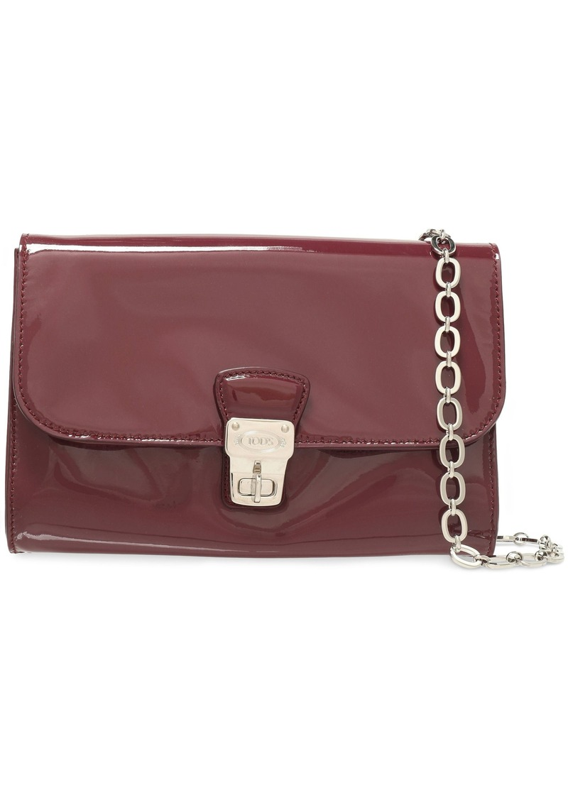 Tod's Woman Patent-leather Shoulder Bag Grape