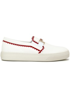 Tod's Woman Patent Leather-trimmed Smooth Leather Slip-on Sneakers White