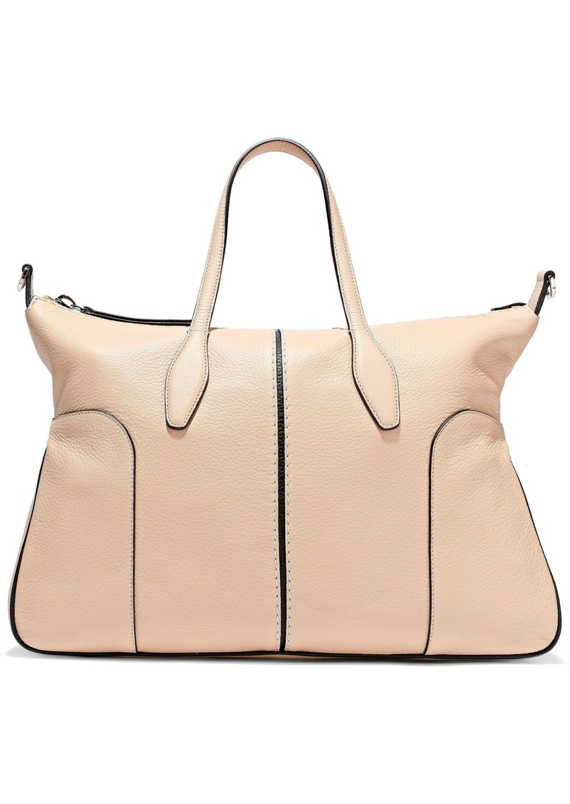 Tod's Woman Pebbled-leather Tote Beige