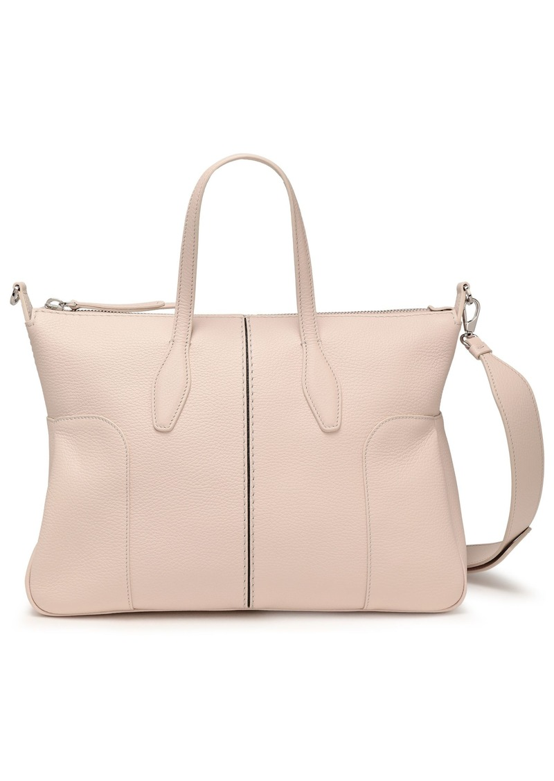 Tod's Woman Pebbled-leather Tote Ecru