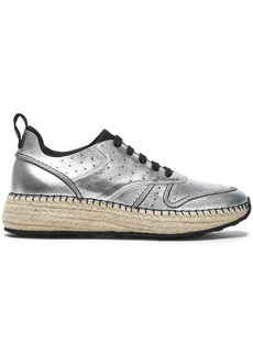 Tod's Woman Perforated Metallic Leather Sneakers Silver