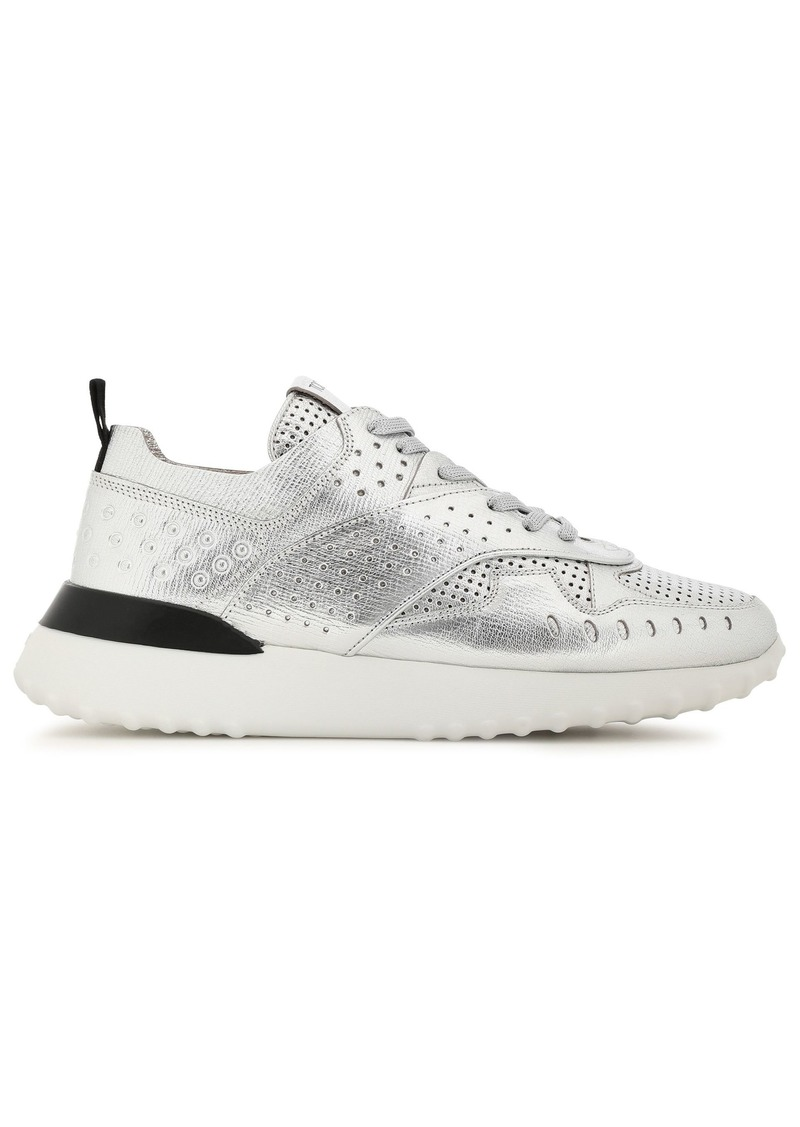 Tod's Woman Perforated Metallic Textured-leather Sneakers Silver